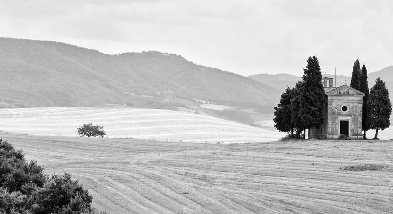 Cappella di Vitaleta (B&W) - Slovenia and Tuscany
