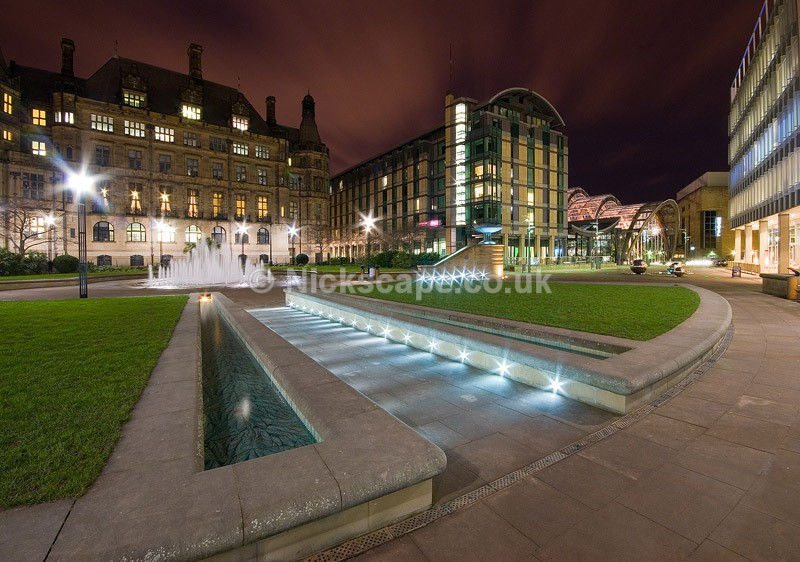 Sheffield Peace Gardens - Sheffield Town Hall & Winter Garden at Night - Yorkshire