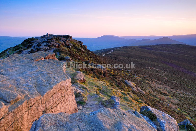 Landscape Photograph of sunset at Win Hill in the Peak District National Park