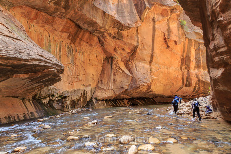 Hikers in the Narrows - Utah