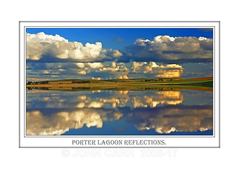 Beautiful Wall Art print  with a Border, showing Reflections of Clouds over Porter lagoon, South of Burra, South Australia.