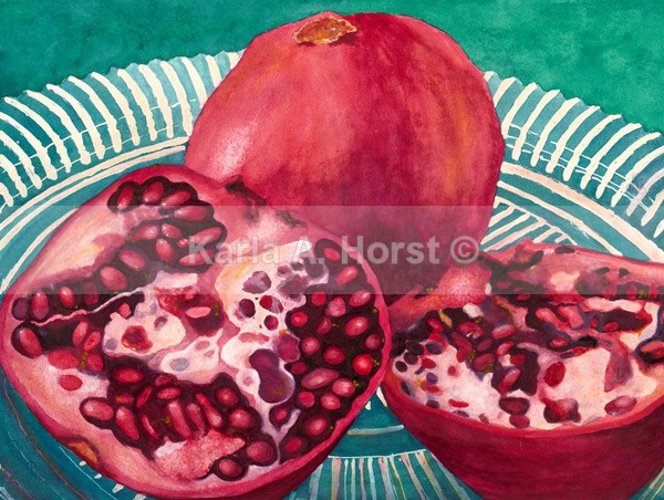 Pomegranates On Plate - Greeting Cards