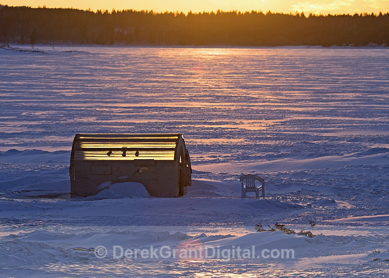 Fishing Shack Frozen in Ice Renforth New Brunswick Canada - Ice Shacks