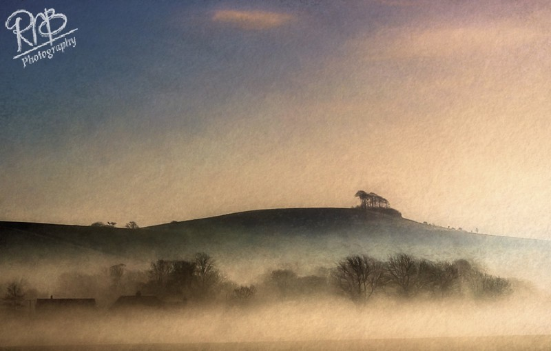 Morning Mist Woodborough Hill - Digital Paintings