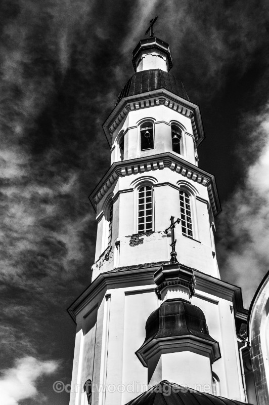 Archangel church tower bw HDR - Archangel, Russia