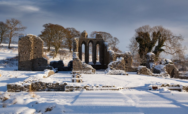 Inch Abbey in Winter - The Quoile River and Inch Abbey
