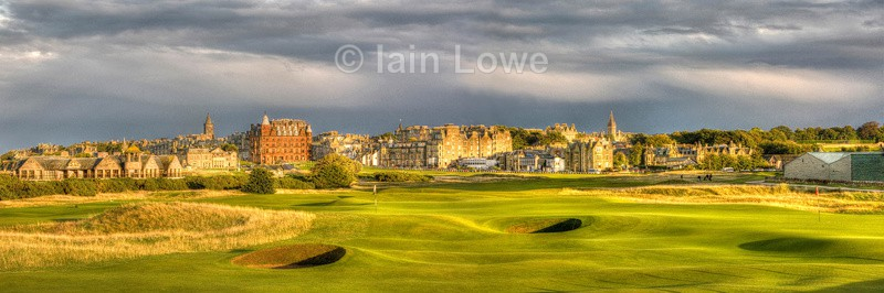 Old Course panoramic 16th green 7 town - St Andrews Old Course Hole-by-Hole