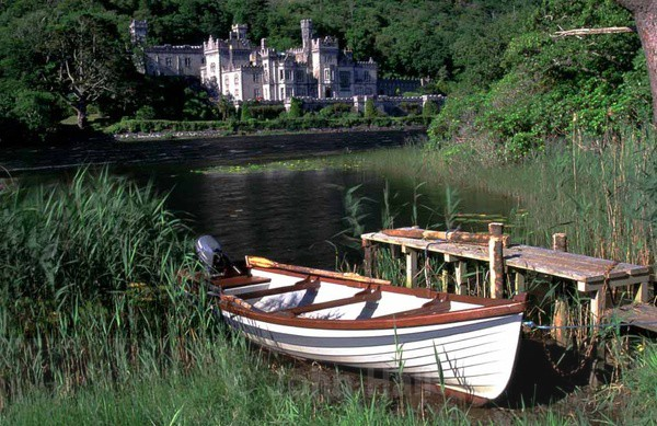 fishing boat at kylemore abbey, co. galway,ireland