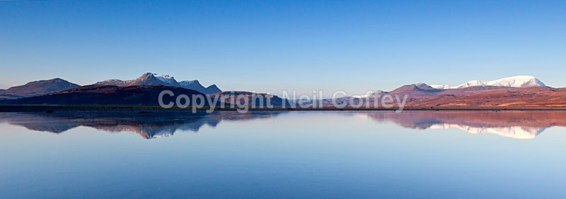 Ben Loyal and Ben Hope across the Kyle of Tongue, Highland - Panoramic format