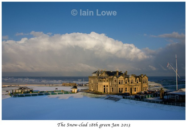 18th snow - Snow on The Old Course 2013