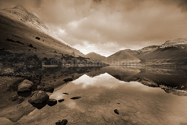 Wastwater Reflections - b&w - Monochrome