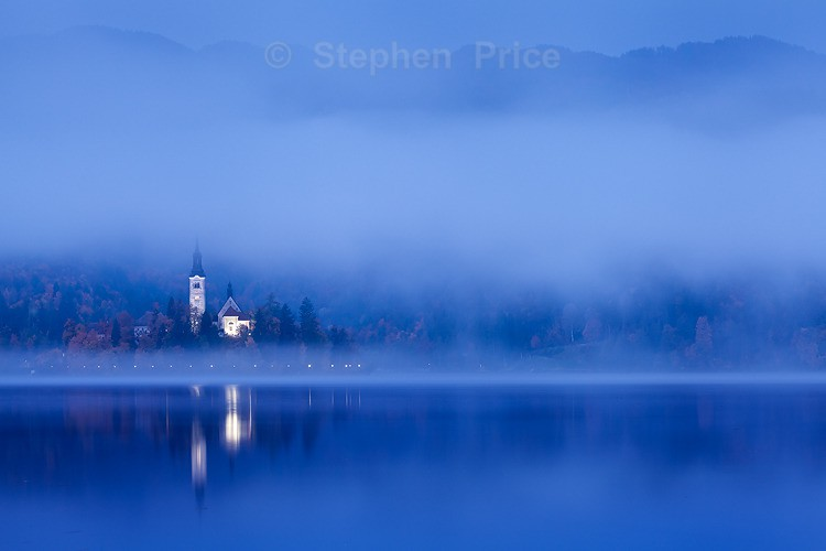 Lake Beld Church at Dawn | Slovenia Mist and Reflections