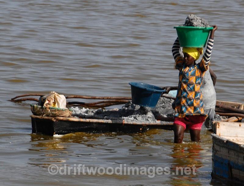 Senegal Lac Rose salt production 10 woman carrying salt from boat to s - Salt Production in Senegal