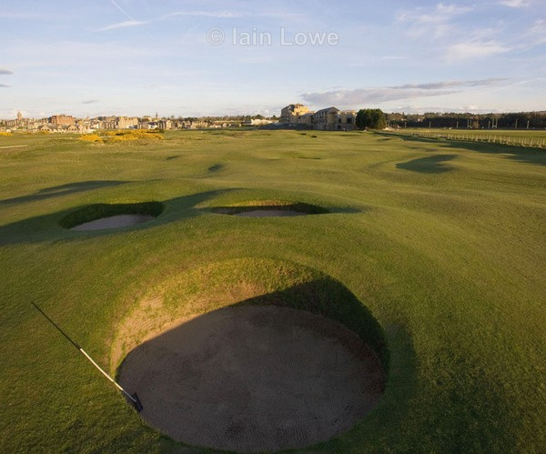 Old Course Principal's Nose bunkers on the 16th fairway - St Andrews Old Course