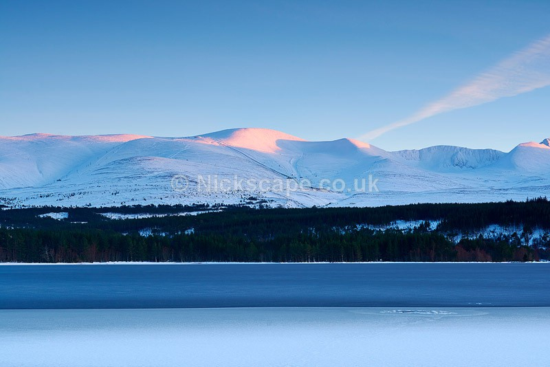 Photography of Cairngorm Mountain Ski area from Loch Morlich in the Cairngorms