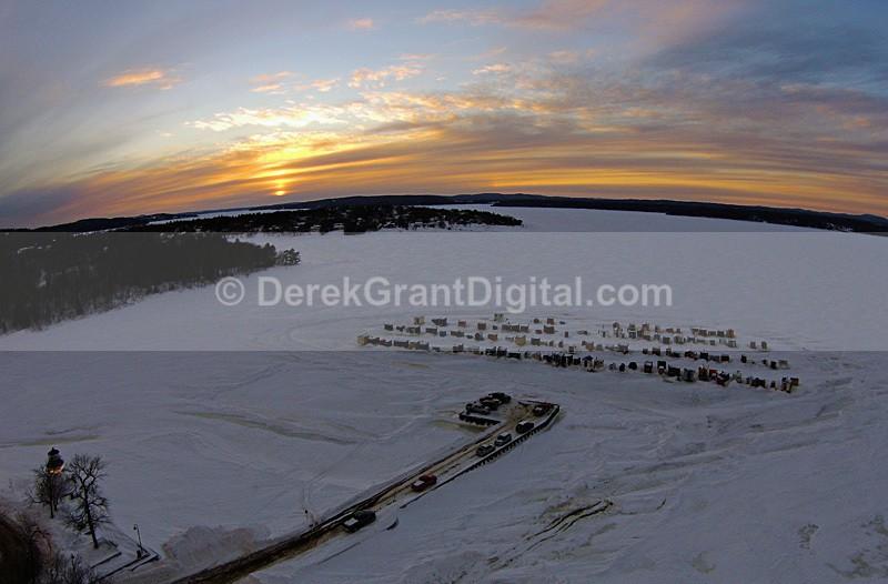 Renforth Sunset Ice Shacks Rothesay NB Canada - Sunset/Moonrise