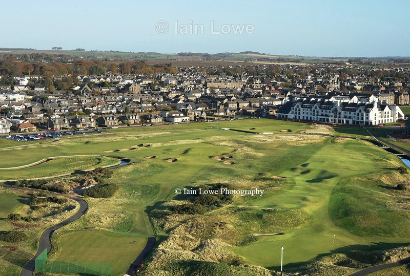 The 1st hole, right, 16th tee to green, left and 18th in the distance - Carnoustie Golf Links images