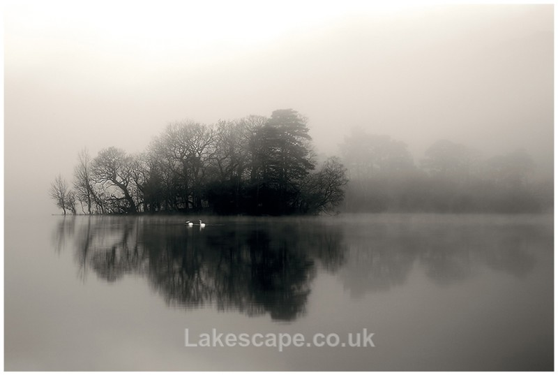 Rydal Islet in the Mist B&W 4639 - Rydal Water