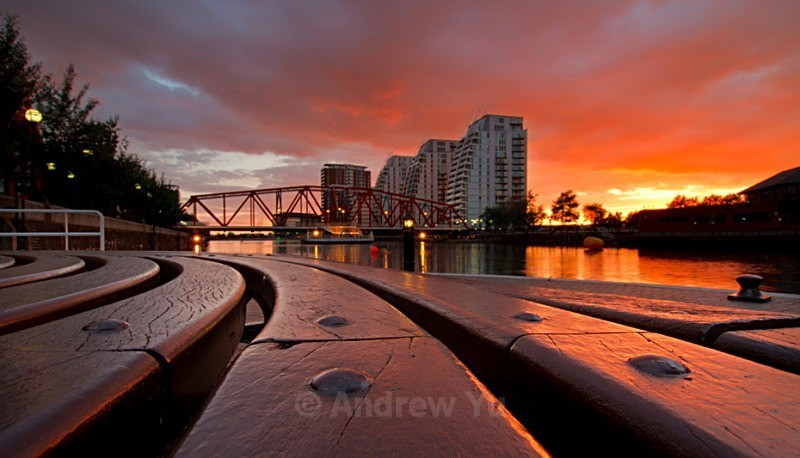 Bench View of a Sunset - Urban Landscape Photography