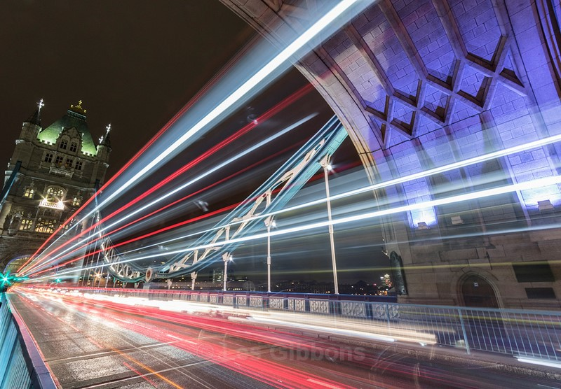 light trails tower bridge - London