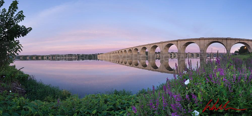 Railroad Bridge Sunrise Panoramic - Harrisburg Area, Pennsylvania