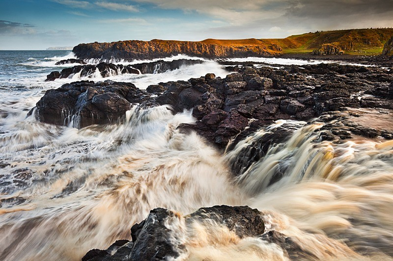 High Tide at Dunseverick Waterfall