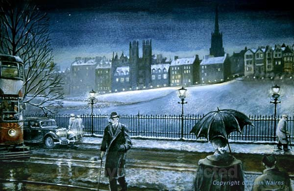 'Princes Street, Edinburgh in the 1950s' - Edinburgh Paintings