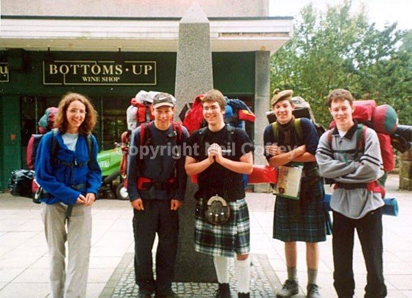 Me (far right) at Milngavie on the West Highland Way, June 2002 - Personal