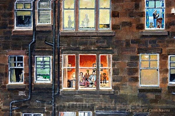 'Edinburgh Tenement' - detail - Edinburgh Paintings