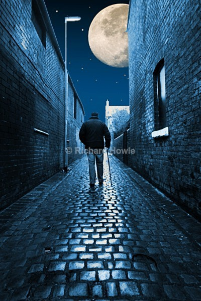 Moonlit Cobbled Entry - The Potteries by Moonlight