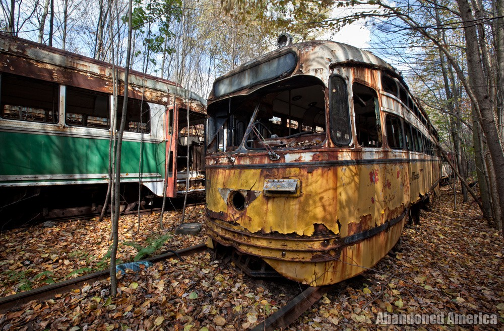 Trolley Graveyard   1947 Yellow St Louis PCC PA Transit Car - The Trolley Graveyard