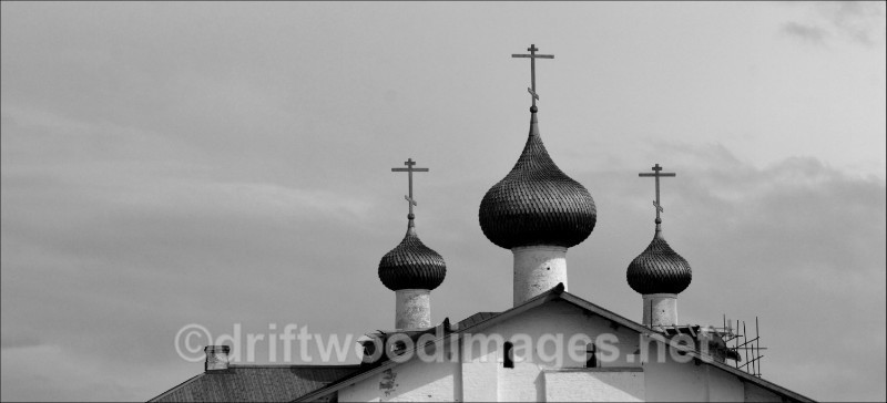 Solovetsky Islands Monastery three domes bw   - The Solovetsky Islands, Russia
