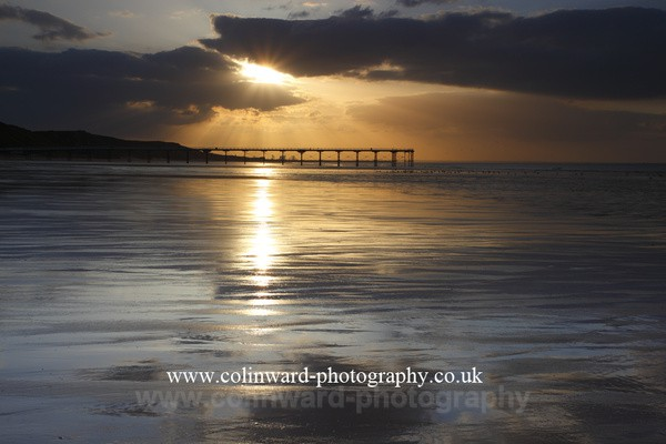 Sunburst over Saltburn Pier. Ref mk2 0405 - North Yorkshire and Cleveland