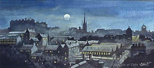 'Edinburgh skyline by moonlight' - Edinburgh Paintings