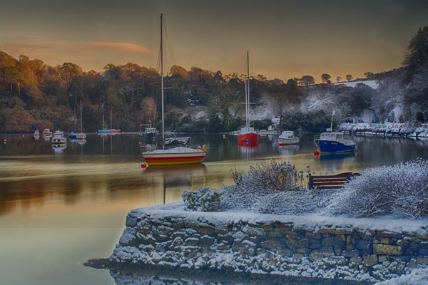 A Snowy Winters Sunset On Drakes Pool Near Crosshaven, Co. Cork, Ireland.