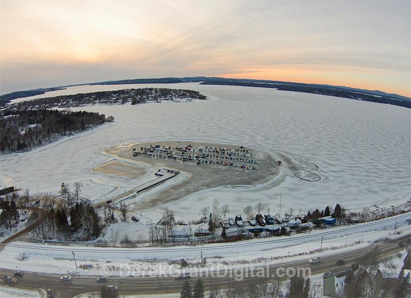 Renforth Ice Huts Boat Club - Aerial View - Ice Shacks