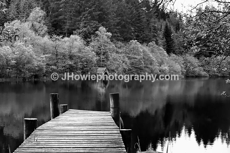 Loch Ard boathouse - Black & White