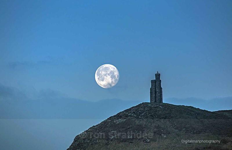 Bradda Head and setting Moon - Latest additions