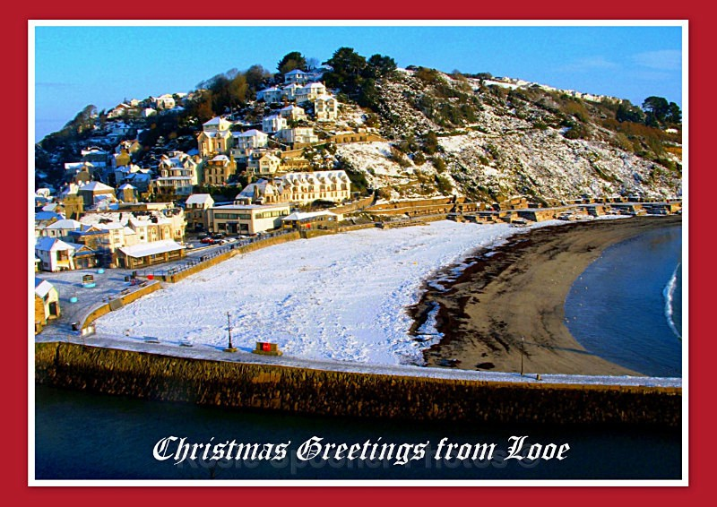 LO50 Snow scene at Looe Photo courtesy of Watermark Hotel - Greetings Cards Looe