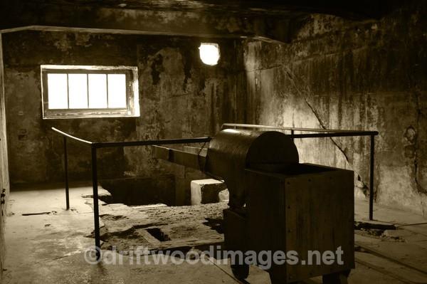 Auschwitz crematoria interior 4 sepia - Auschwitz/Birkenau