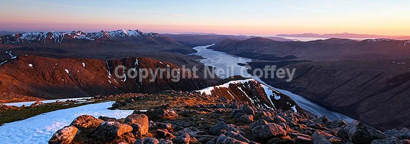 Ben Cruachan, Loch Etive & the Isle of Mull from Ben Starav, Highland - Panoramic format